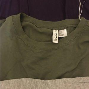 Gray & green tee shirt dresses
